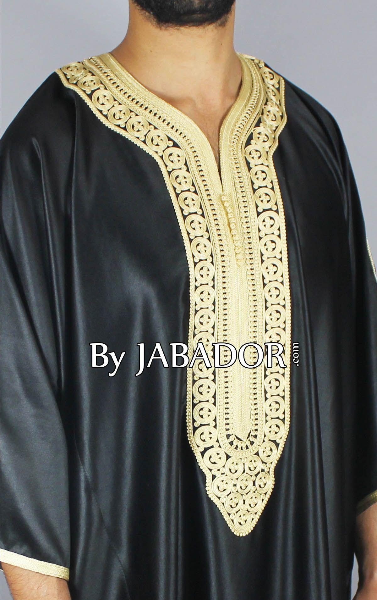 Gandoura mlifa noire avec broderie 4 fils or 8b5c8f7c870