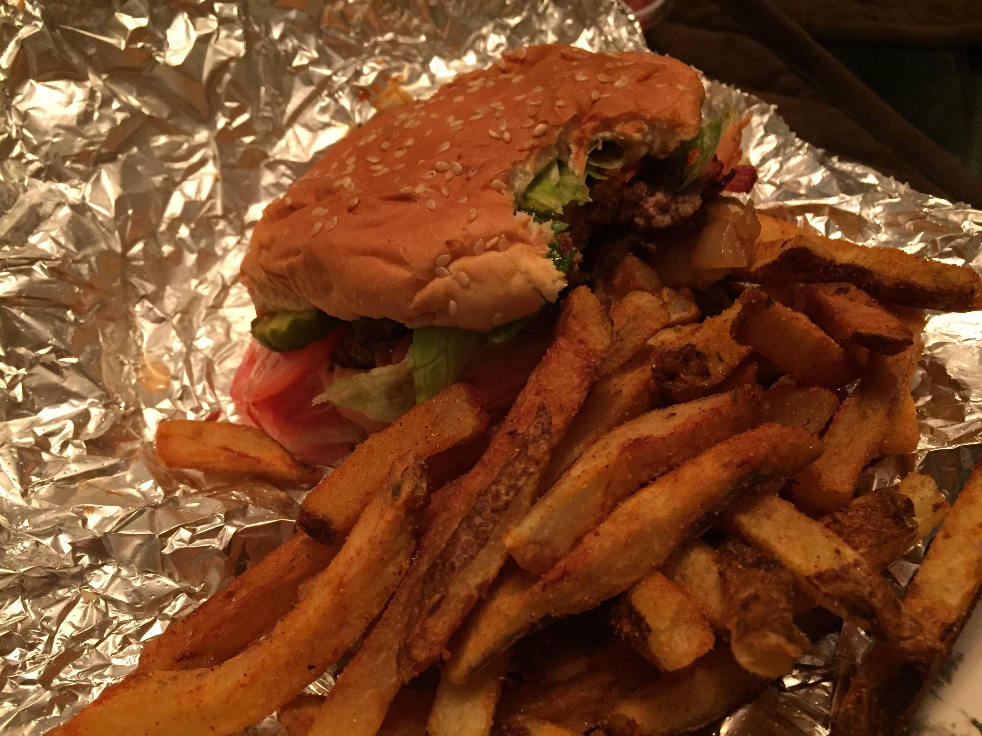 Bacon burger and cajun fries rfood cajun fries