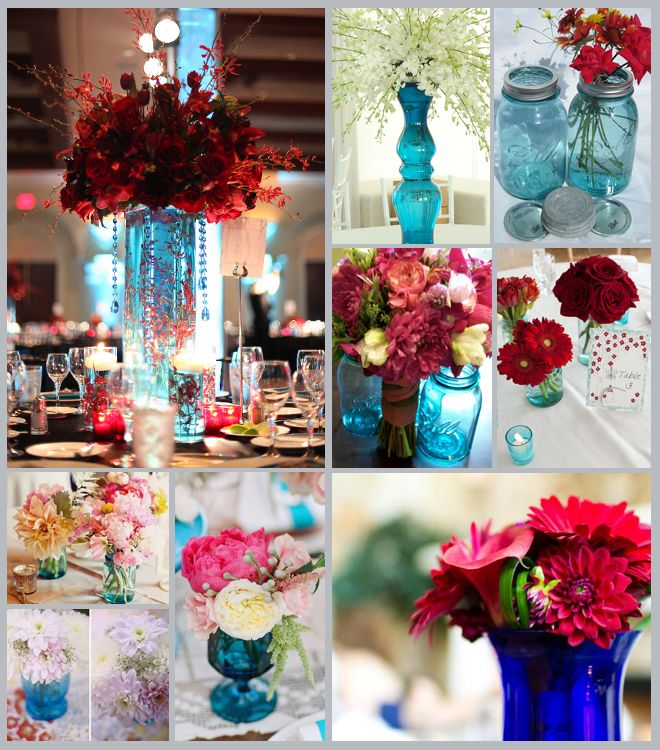 Red And Blue Centerpieces Blue Glass Centerpieces Inspiration