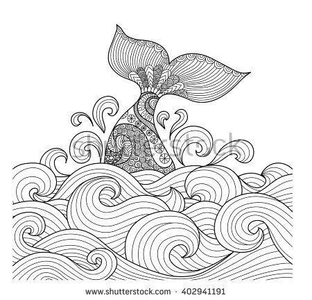 Whale Tail In The Wavy Ocean Lines Art For Adult Coloring Book