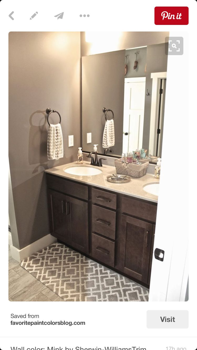 Espresso Cabinet With Light Countertop And Gray Paint Color Gray Tile Brown Bathroom Painting Bathroom Bathroom Colors