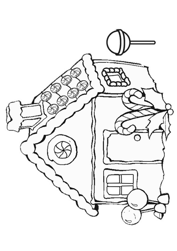 Free Online Gingerbread House Colouring Page