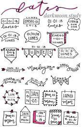 Photo of Header-Ideen für #bullet journal oder #study #notes Ideas de títulos para #apu…