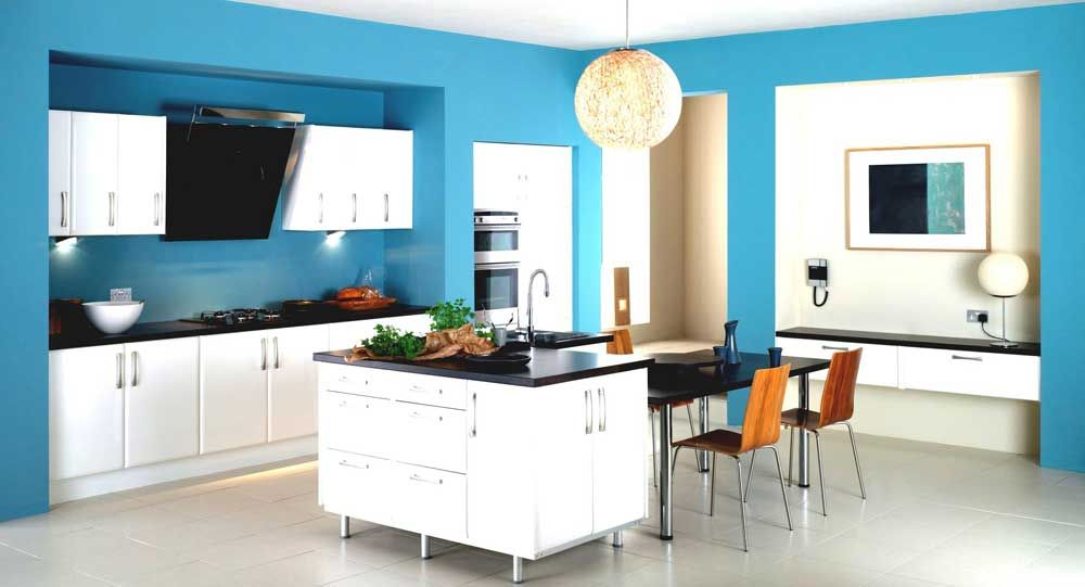 Teal Color House Interior Design With Kitchen Interior Modern Sky