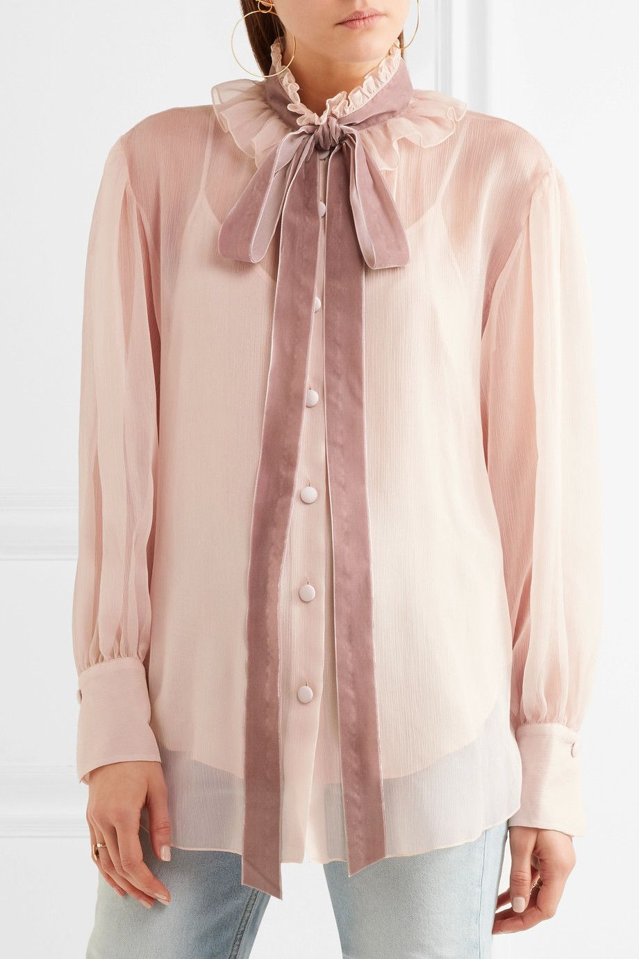 Ruffled Pussy-bow Chiffon Blouse - Marigold See By Chlo 2018 New Cheap Price All Seasons Available Cheap 2018 Newest Free Shipping Discounts Quality Free Shipping r2rrgj