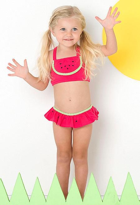 Le Top Pink Lime WATERMELON CUTIE Skirted Swimsuit Girls 4-6x - Color Me Happy Boutique