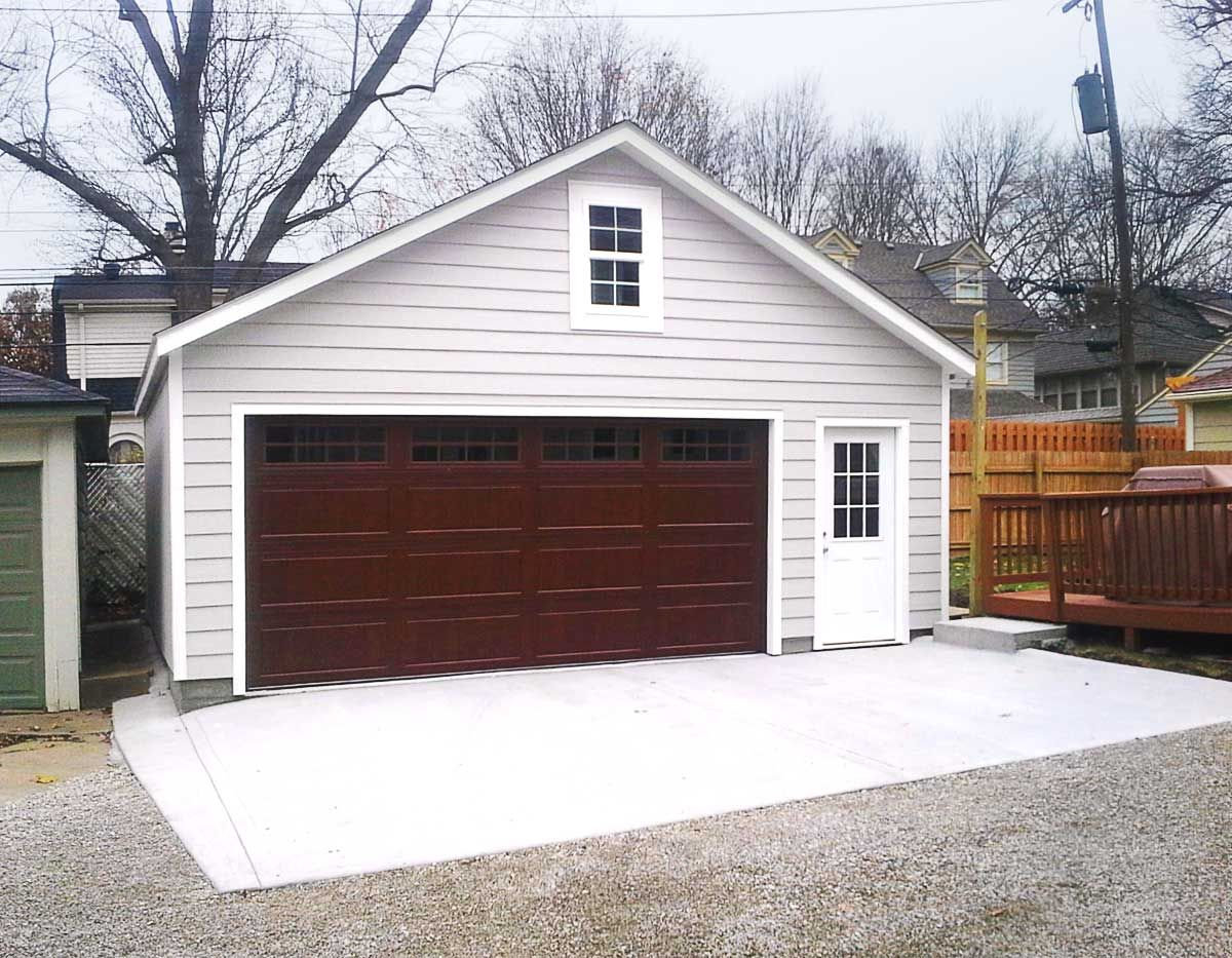 lovely backyard garages #2: Customized overhangs make this garage a one of a kind addition to the  backyard.