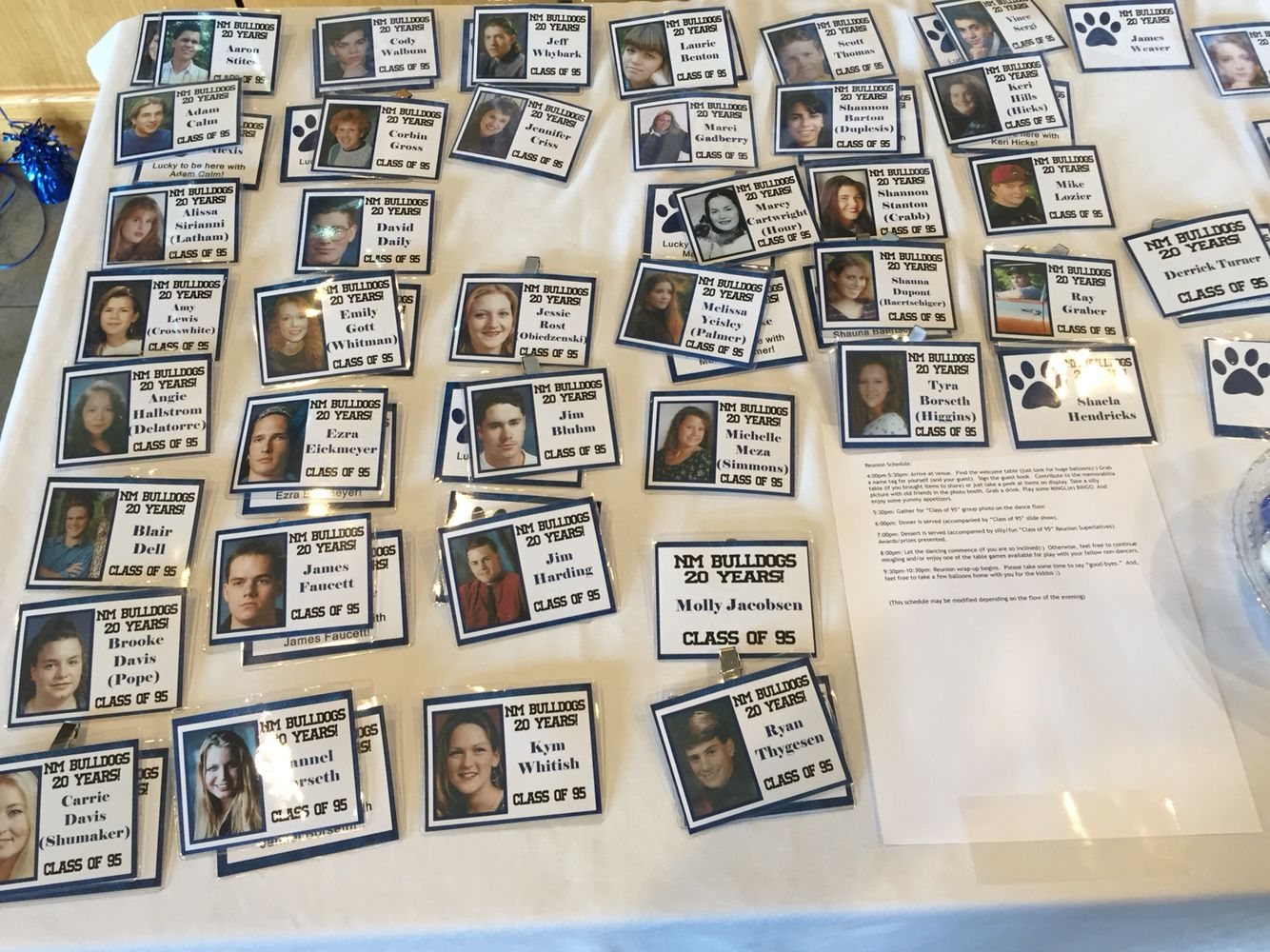 20th High School Reunion Name Tags Created With Senior Photos School Reunion School Reunion Decorations Class Reunion Decorations