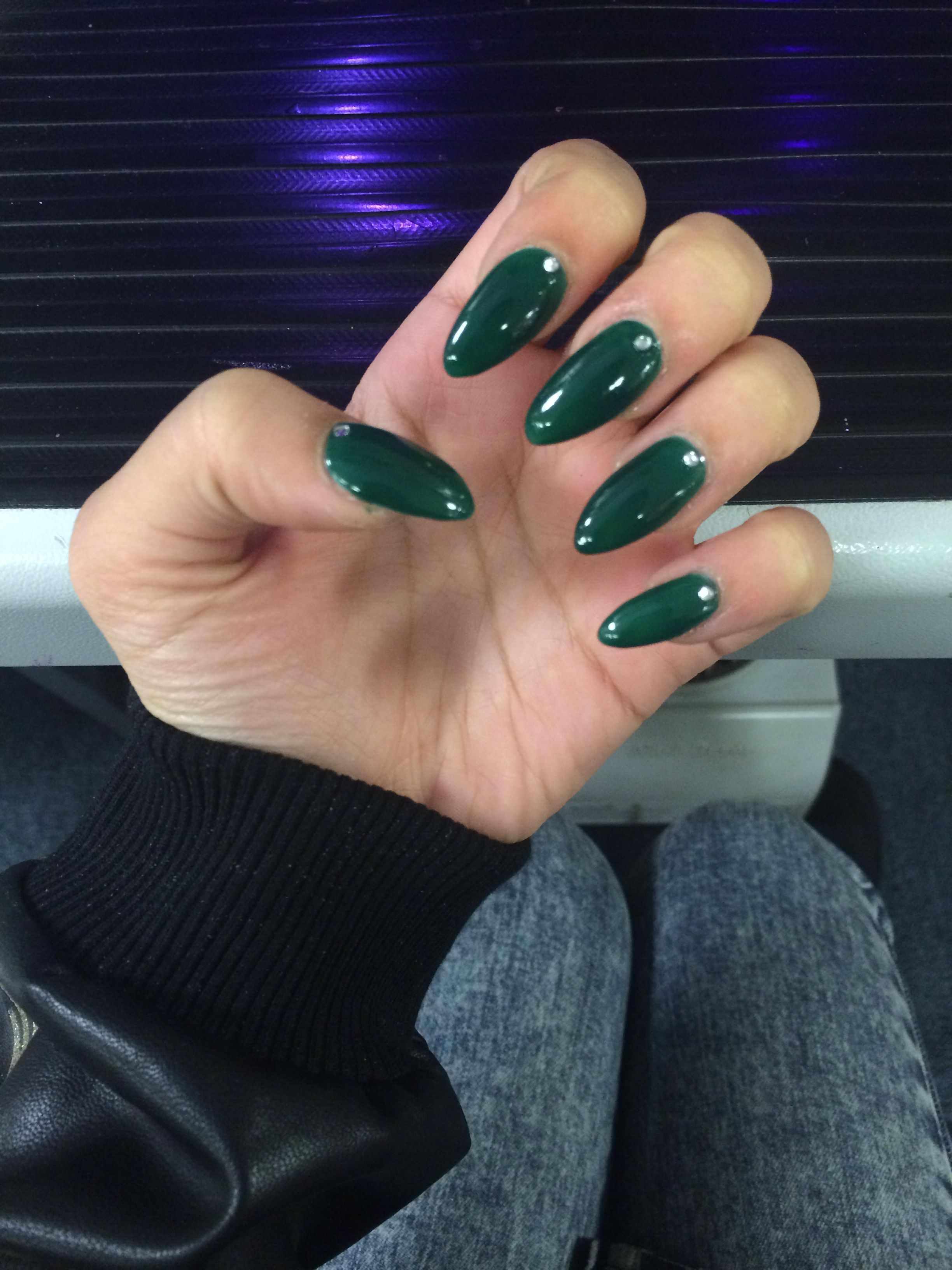 My Christmas forest green stiletto / almond acrylic nails with gems ...