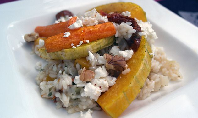 pumpkin risotto with walnuts and feta