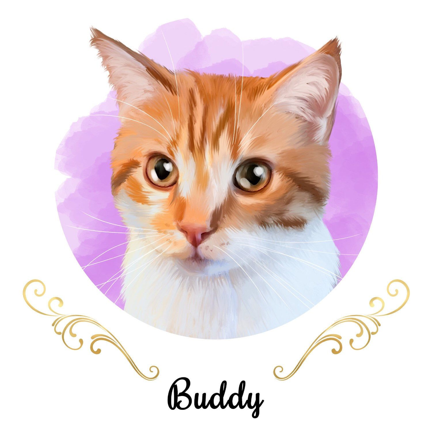 Custom Cat Portrait Gift For Lover New Owner Birthday Wall Art Home Decor Kitten Kitty Catlover