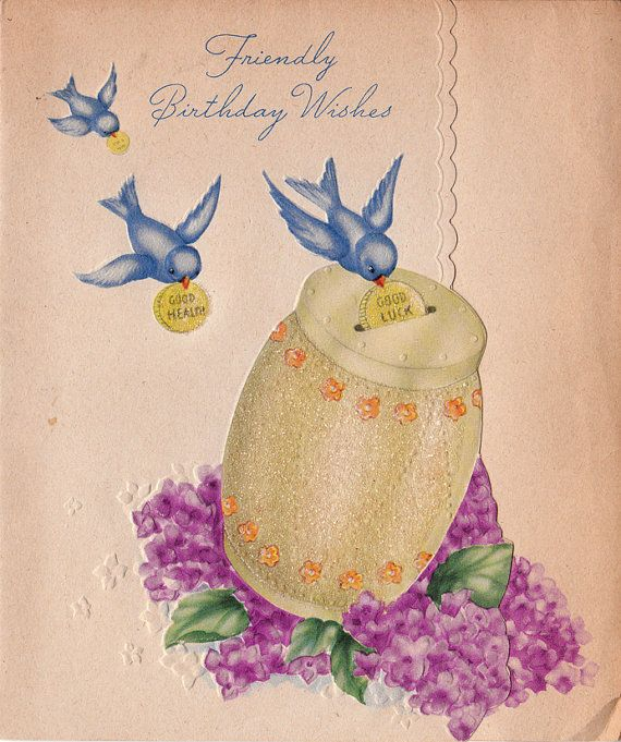 Bluebird wishes 1940s birthday card bluebirds pinterest bluebird wishes 1940s birthday card m4hsunfo Image collections