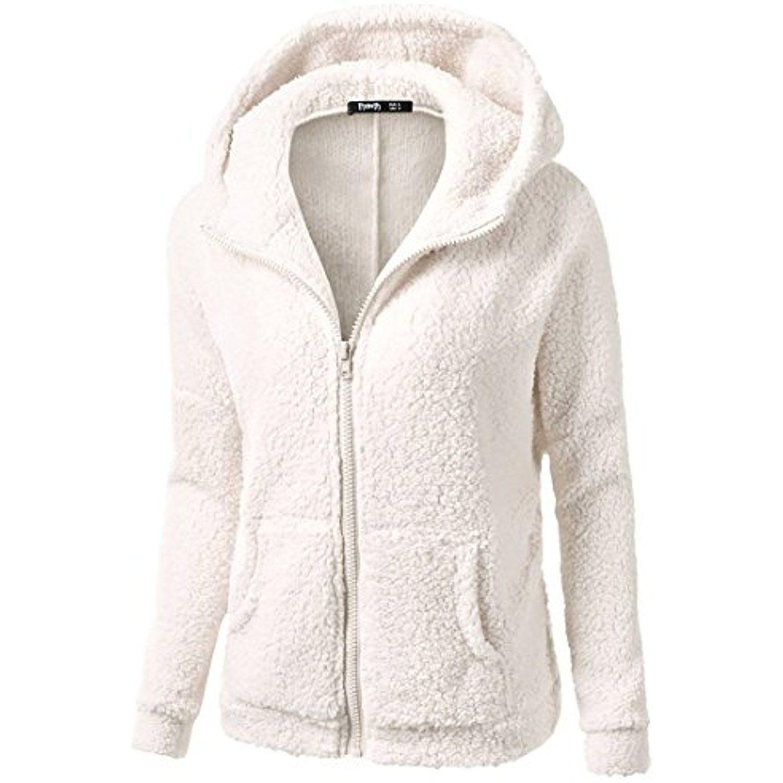 JSY Womens Coat Sweatshirt Full-Up Autumn Winter Casual Sherpa Fleece Jacket