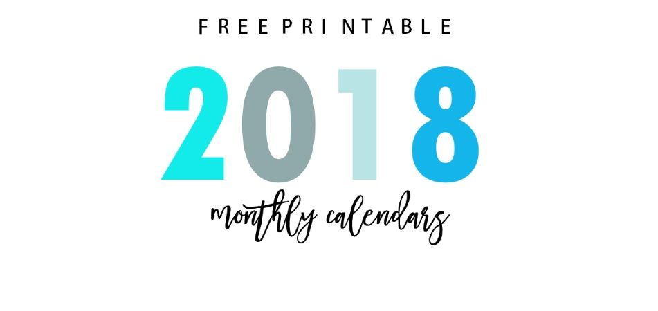 Cute Free Monthly Printable Calendar 2018 | MaxCalendars | Pinterest ...