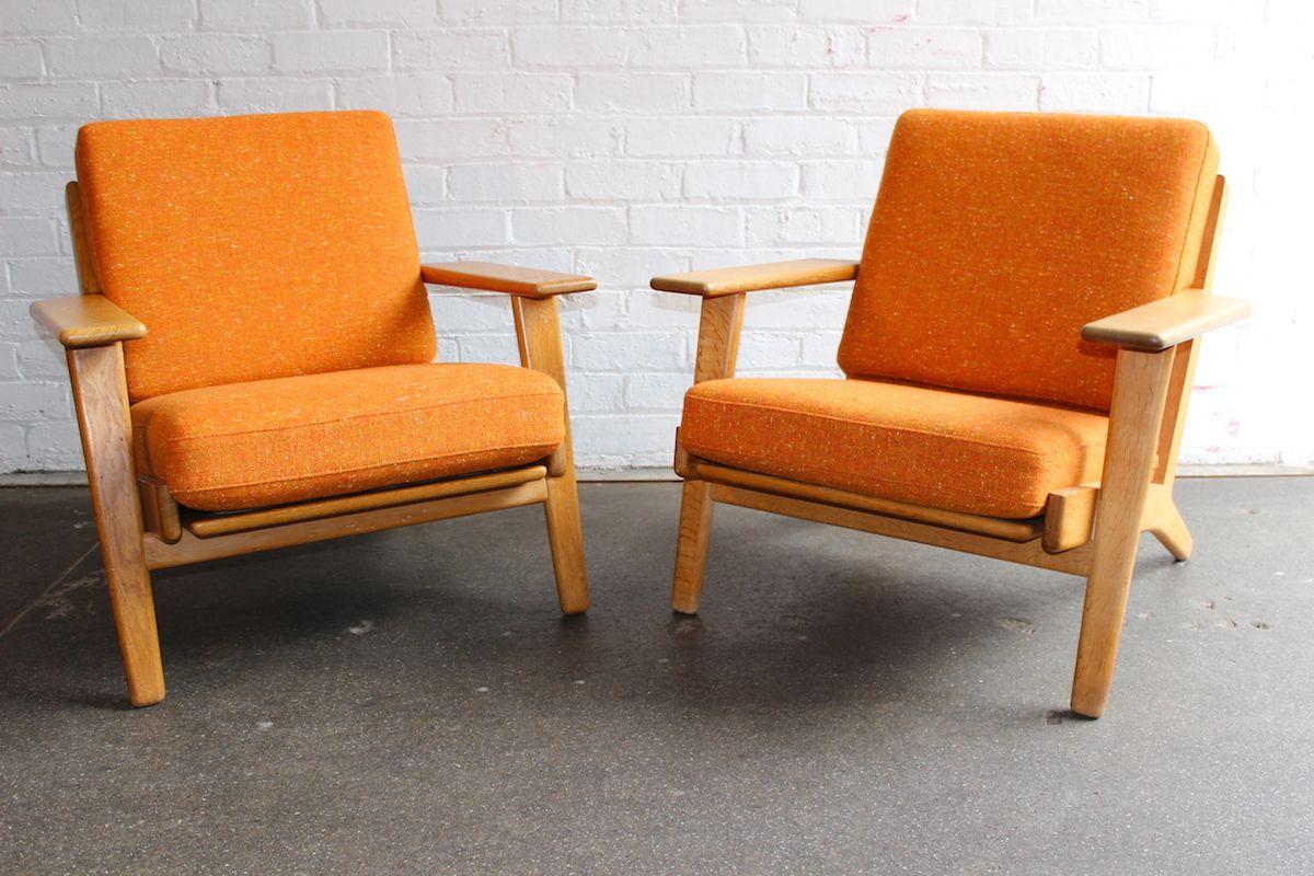 pair of hans wegner plank chairs model ge290 re upholstered in