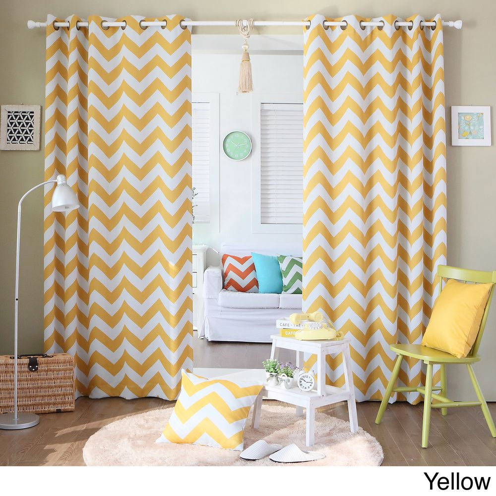 Chevron Print Room Darkening Grommet Top 84 inch Curtain Panel Pair | Overstock™ Shopping - Great Deals on Curtains
