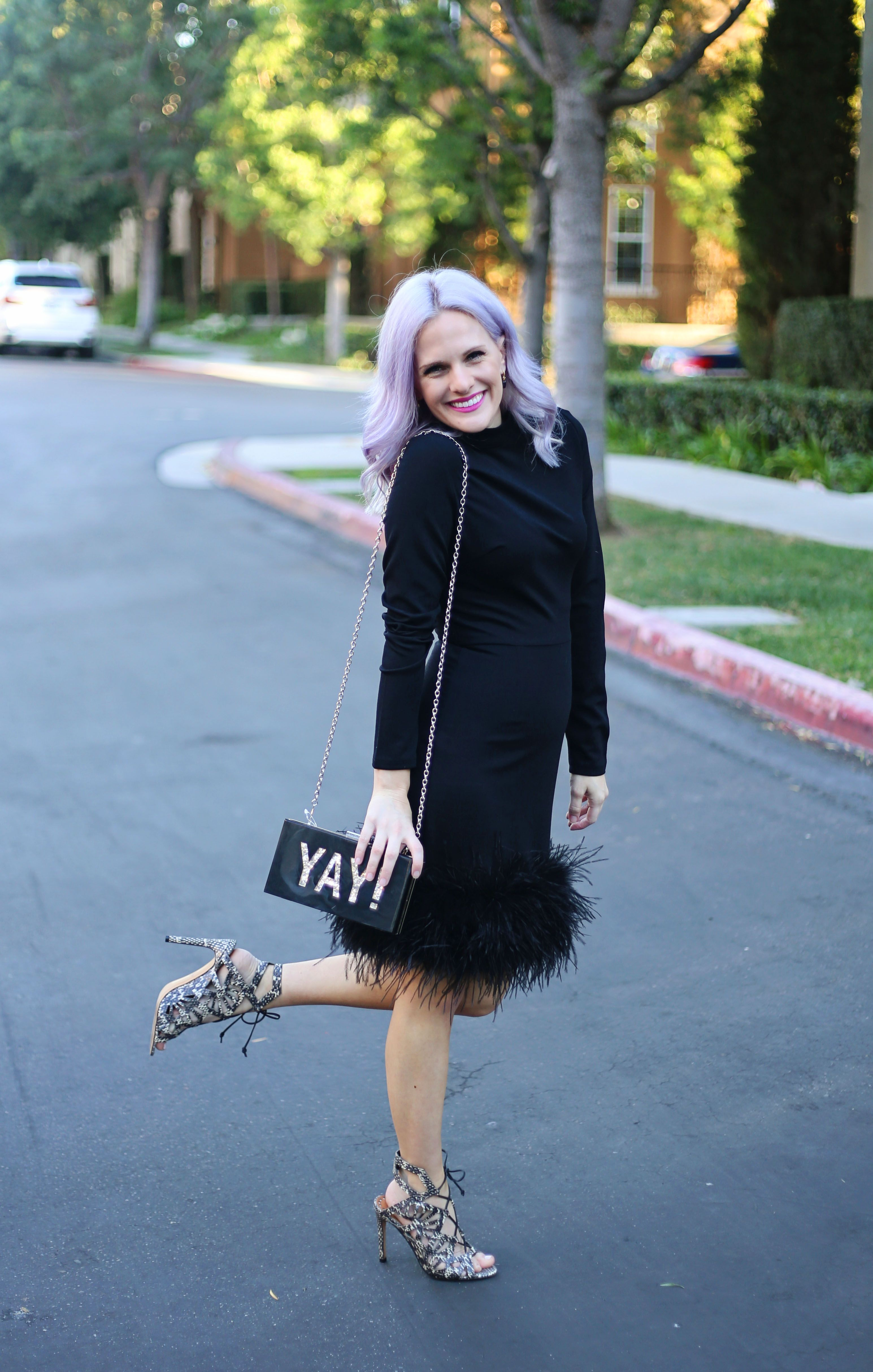 Fun little black dress LBD with feathers / purple lavender hair ...