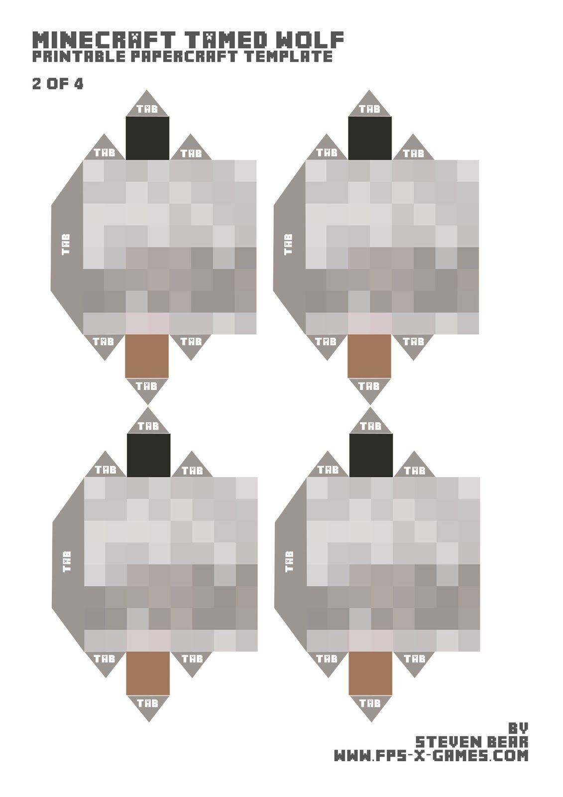 Minecraft Snow Golem Printable Papercraft Template 2 Of 3