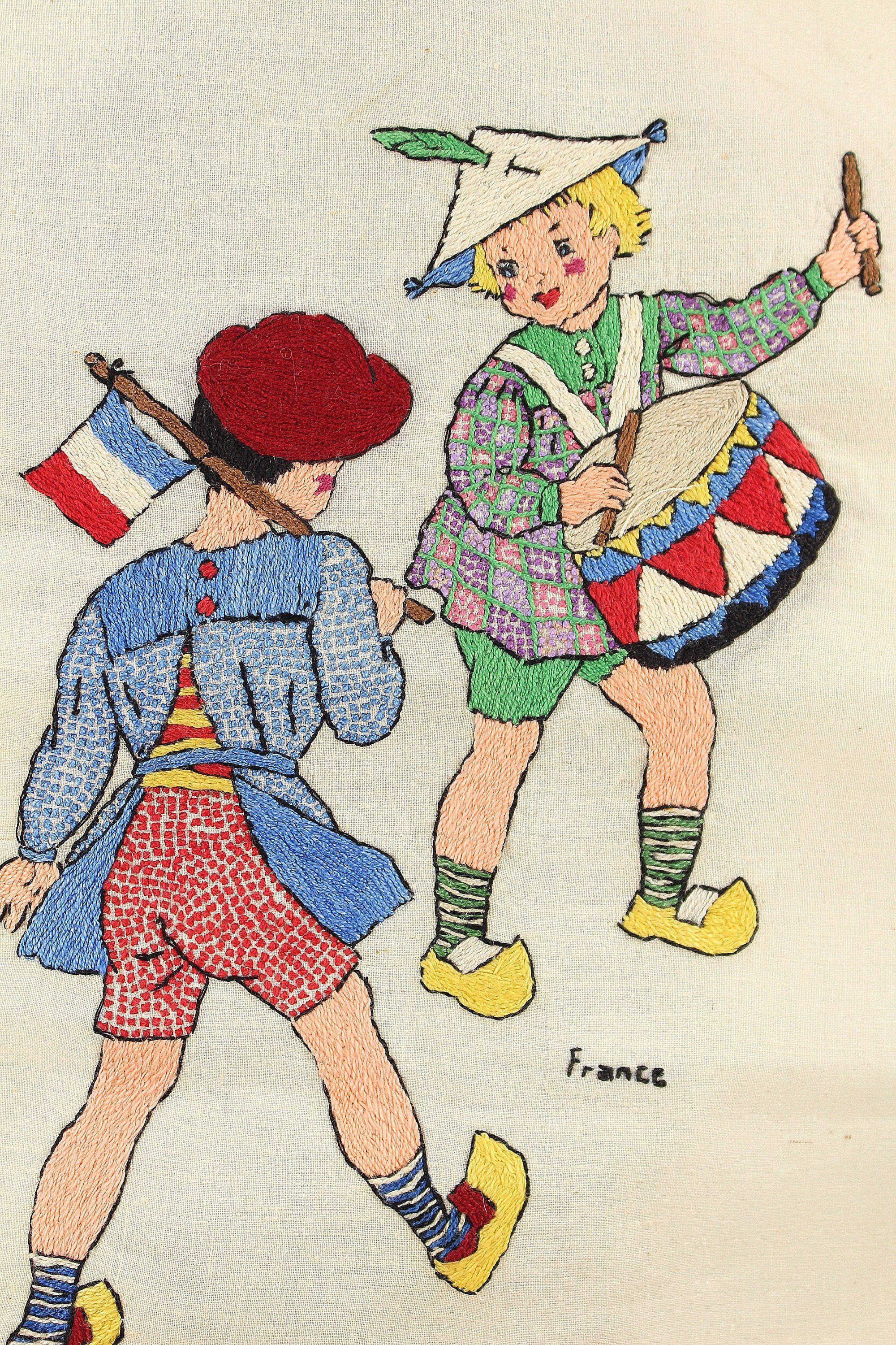 Vintage Hand Embroidery French Children With Flag And