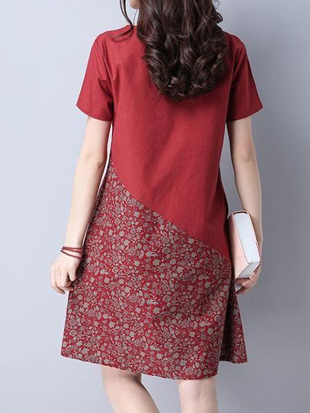 Floral Patchwork Pocket Short Sleeve O Neck Women Dresses