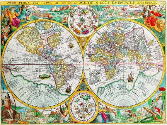 World map Beautiful Vintage Old World Map Wall Art by CanvasDenCom - new antique world map images