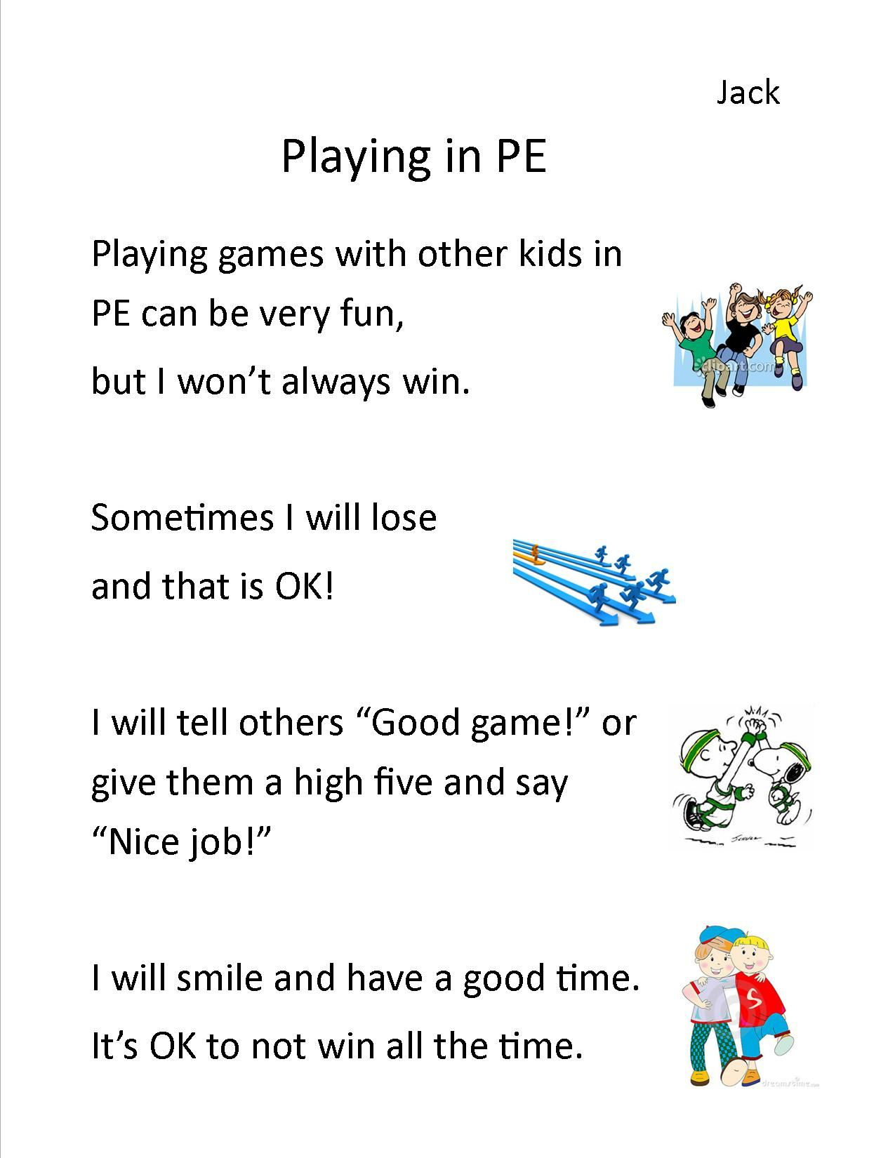 Social Story For Autistic Pe Student Not Winning