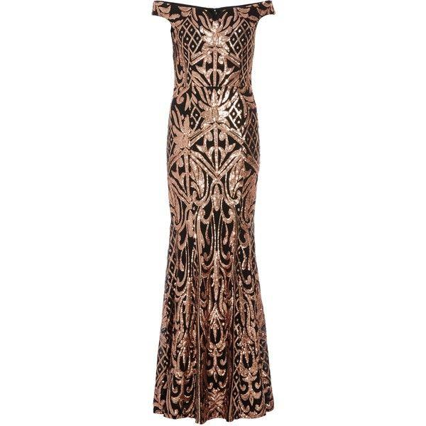 abbb77e31ed4 Quiz Quiz Black And Rose Gold Sequin Bardot Maxi Dress ($140) ❤ liked on