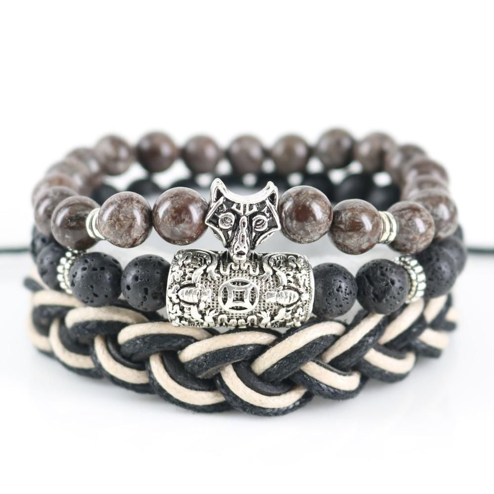Lava stone bracelet yoga mens wolf bracelets copper coin bangle
