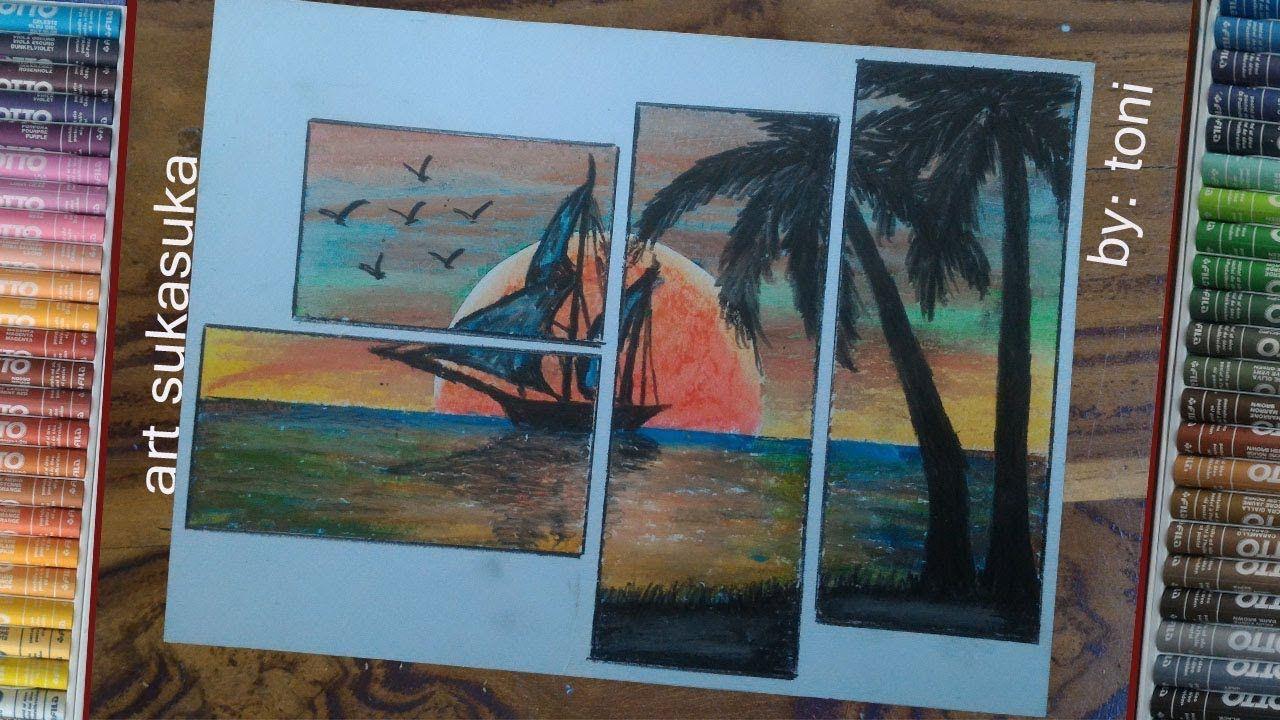 Gambar Siluet Matahari Terbenam Cara Menggambar Pemandangan Laut