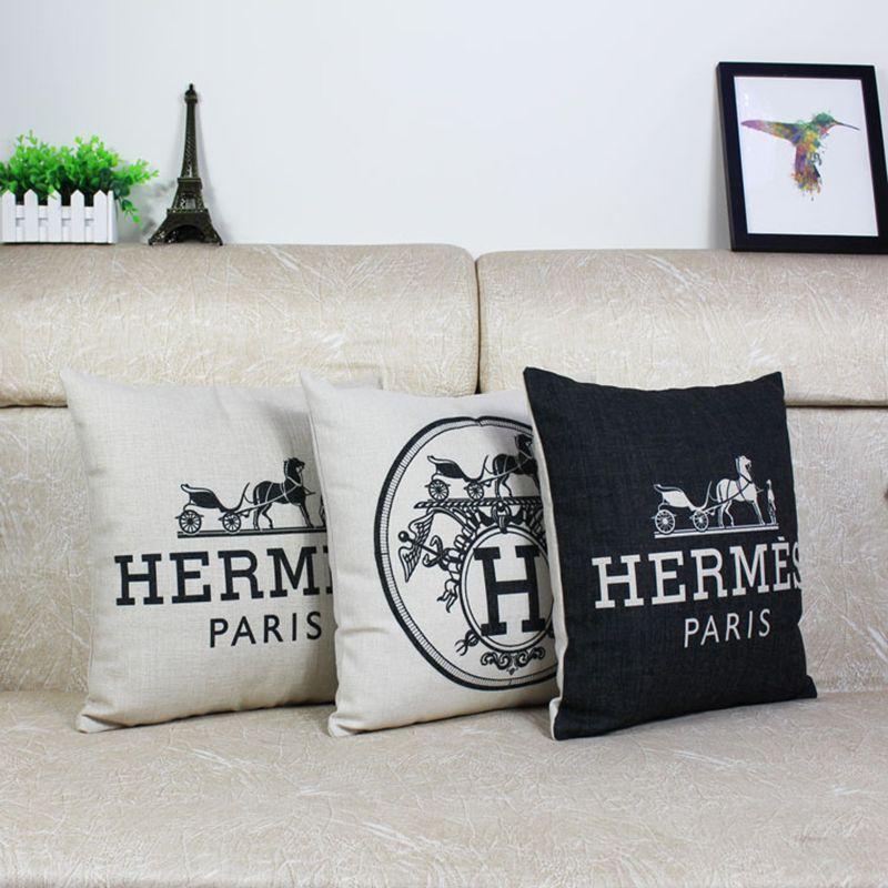 H E R M E S de PARÍS en Blanco Y Negro de Algodón Cojín de lino Throw Pillow Oficina Sofá Hogar Decorativo Del Coche de Cuatro Estaciones General