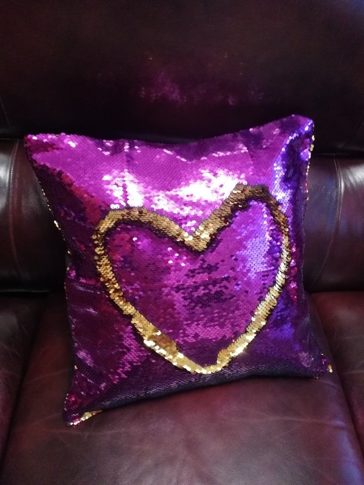 Custom sequin throw pillow with photo with images