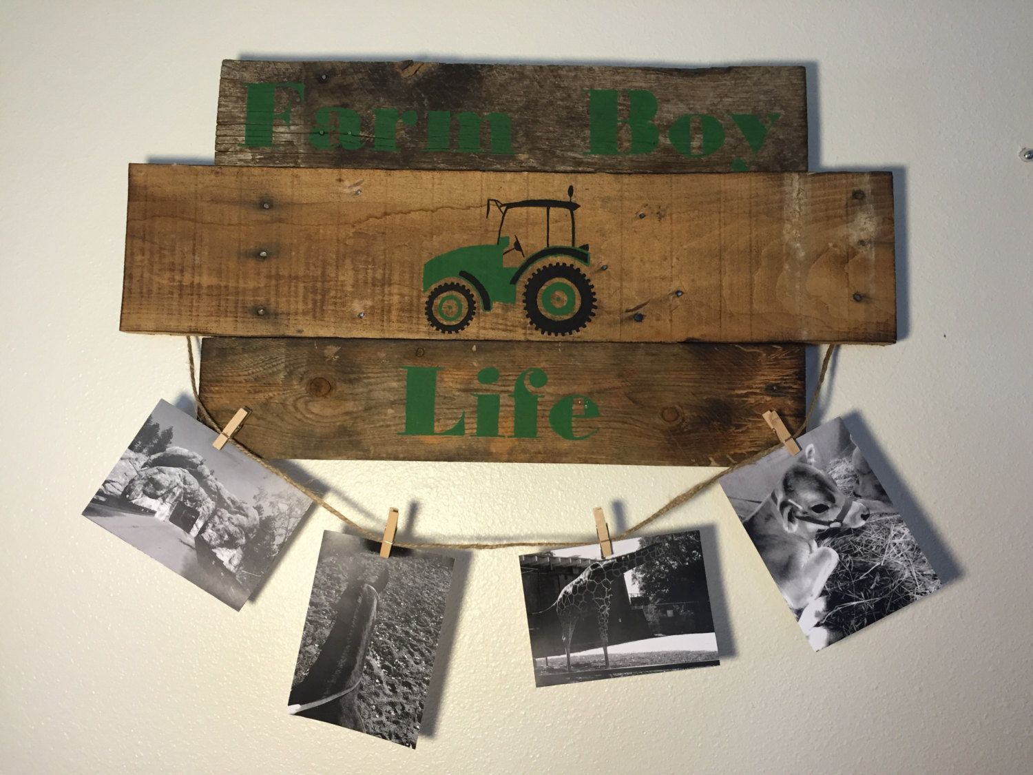Farm Boy, Picture frame collage, Wooden decor, reclaimed wood, photo ...
