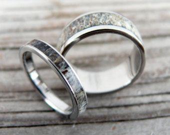 deer antler wedding band titanium ring for by jewelrybyjohan - Deer Antler Wedding Rings