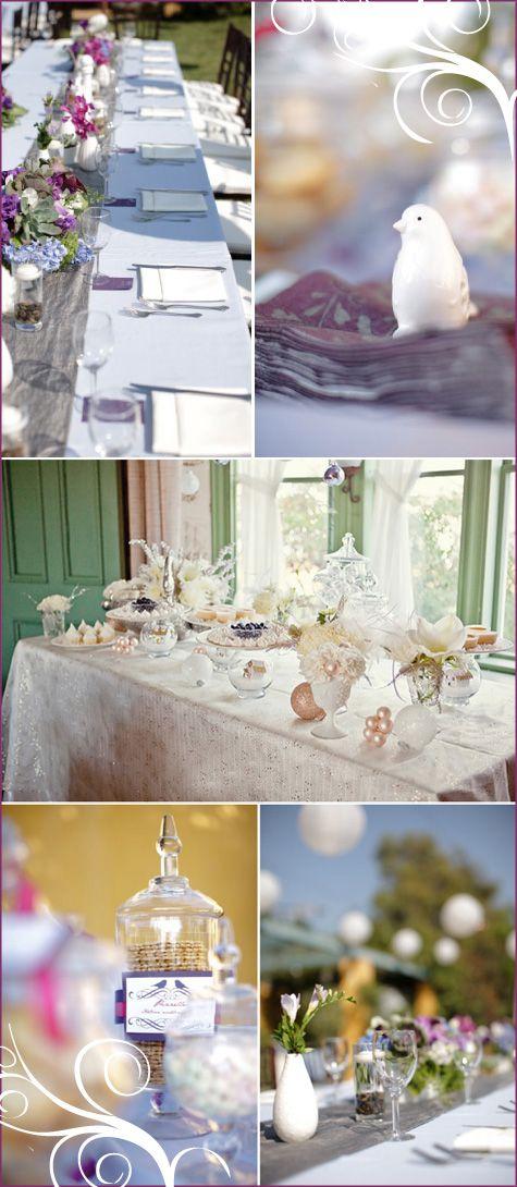 857b0faacea2 A Winter Wonderland  Purple   White Shower table ideas