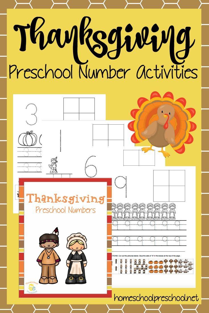 Printable Thanksgiving Preschool Number Activities