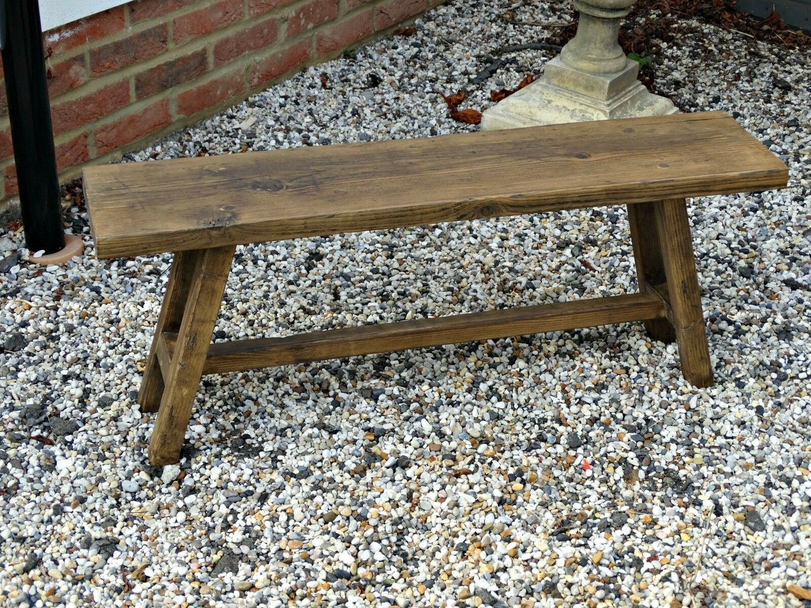 Farmhouse Style Rustic Bench Made From Reclaimed Timber Scaffold Boards Ebay Rustic Bench Rustic Bench Seat Scaffold Boards