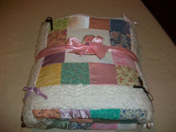 Teddy bear baby quilt Chenille and satin by PeaPodLilFrogs on Etsy, $65.95