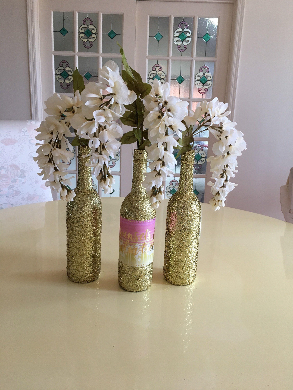 Set of 3 Gold Glitter Wine Bottles