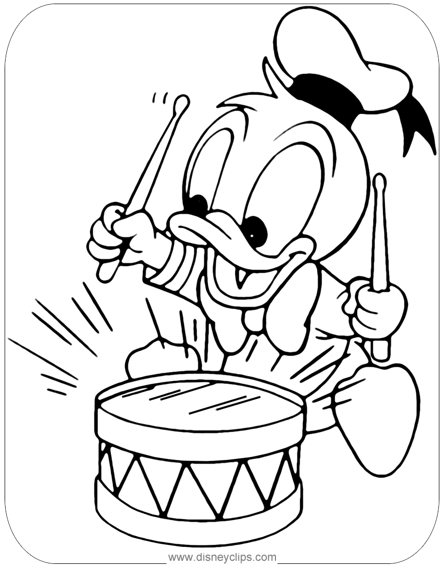 Baby Donald Duck Playing With Toy Drum Coloring Page Disneybabies Babydonald Do Disney Coloring Pages Printables Disney Coloring Pages Cute Coloring Pages [ 1104 x 864 Pixel ]