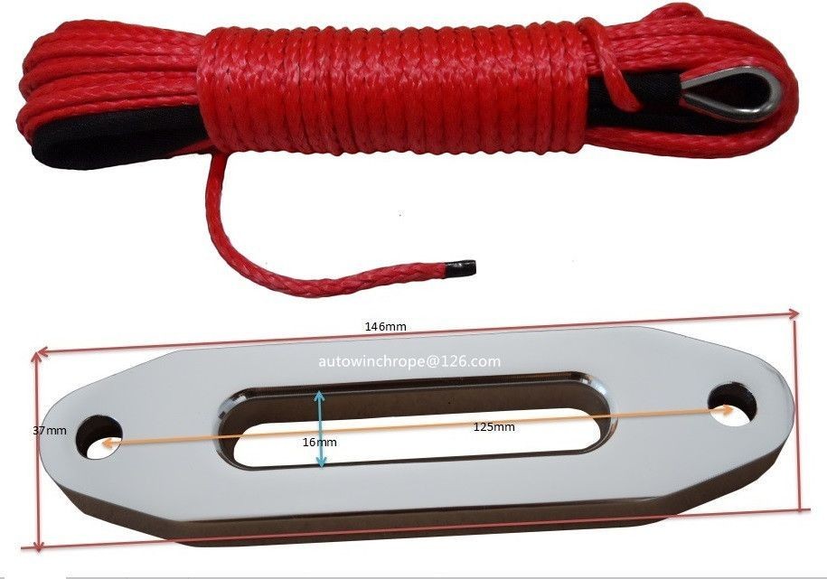 "Red 3//16/""*50ft  ATV winch line with thimble Boat Winch Cable  Synthetic Rope"