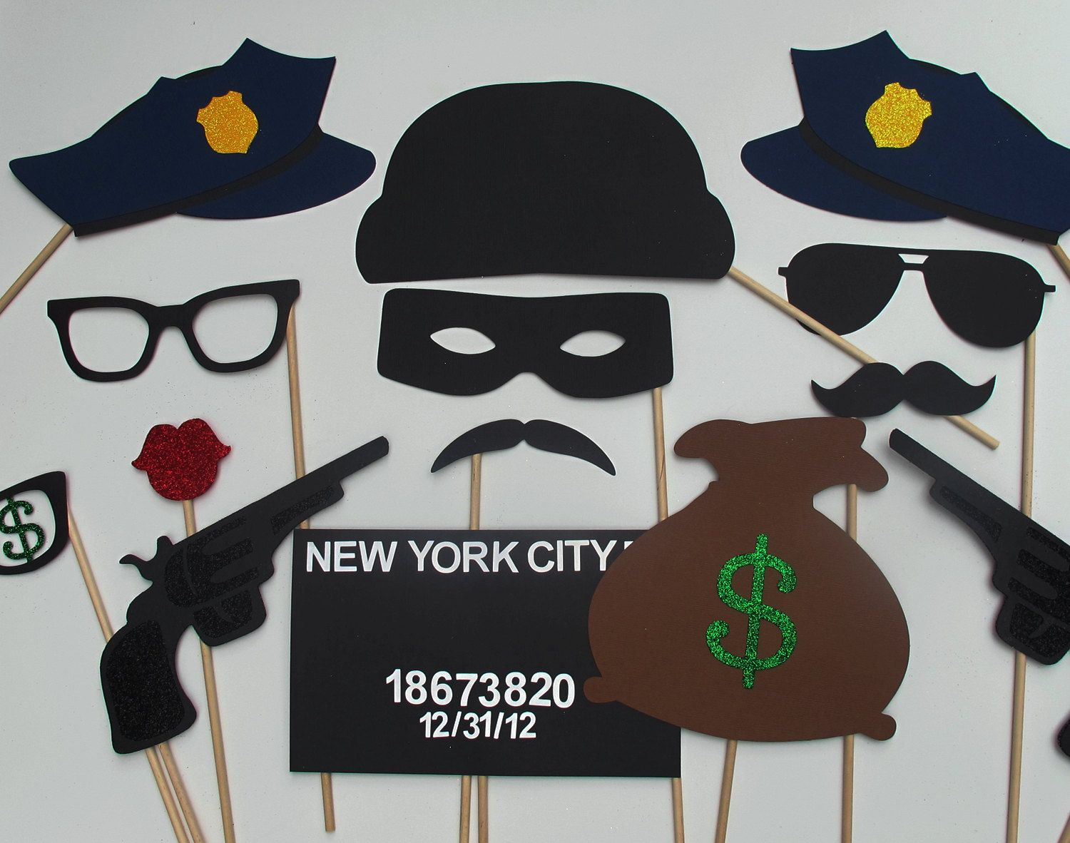 Items Similar To Cops Robbers Photo Booth Prop Collection Wedding Party Props On Etsy