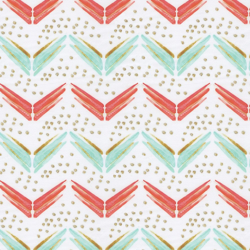 Coral and Teal Chevron Fabric by the Yard | Teal chevron, Chevron ...
