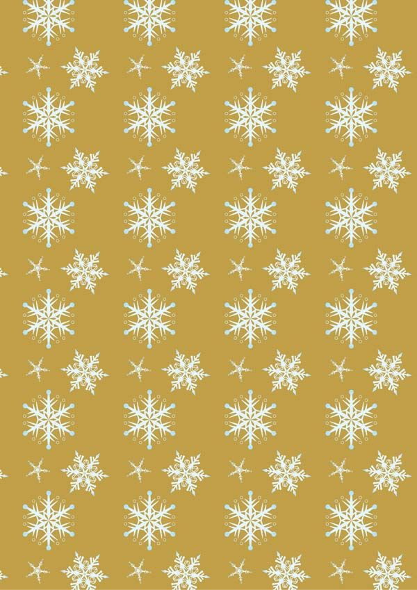 Snowflakes On Gold Background Printable Scrapbook Paper Free
