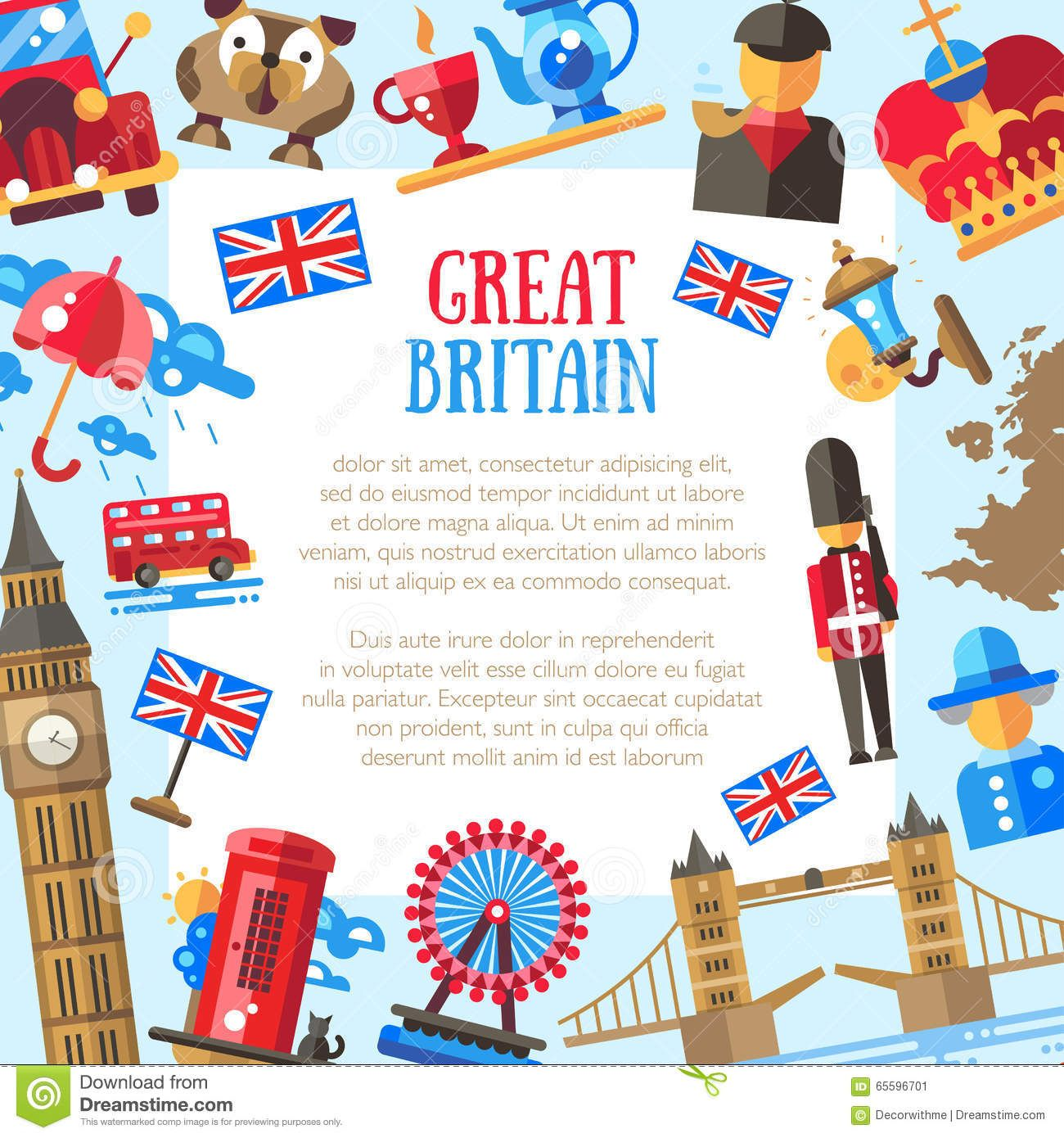 Great britain travel card template with famous british symbols great britain travel card template with famous british symbols download from over 53 million high biocorpaavc Choice Image