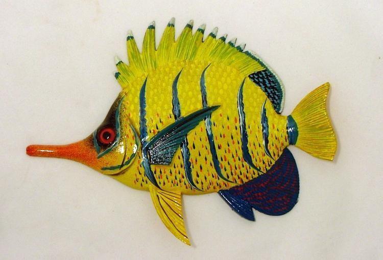 Needle Nose Tropical Fish Tiki Sea Life Wall Decor Orange and Yellow ...