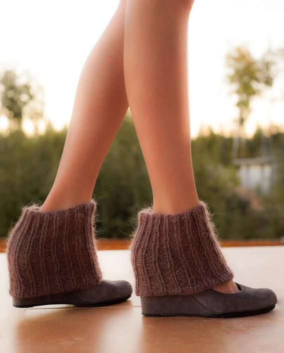 Mohair Hand Knitted Leg Warmers, Boot Cuffs, Boot toppers, Fashion Trend, Winter Fashion, Taupe Legwarmers, Home cozy, Fluffy socks #bootcuffs