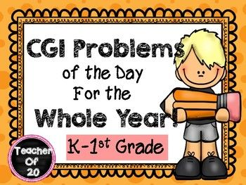 This packet gives students a CGI problem of the day each day of the year to solve in their math notebook. The CGI problem types will be introduced in the following order, and includes 24 CGI problems per month, with the exception of December and May which include 16 CGI problems each.