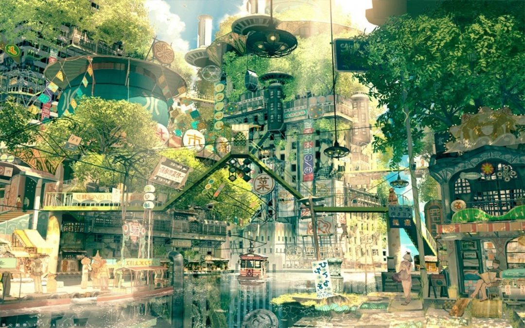 Japanese Anime City Android Iphone Desktop Hd Backgrounds Wallpapers 1080p 4k In 2020 Anime Scenery Fantasy Landscape Anime City