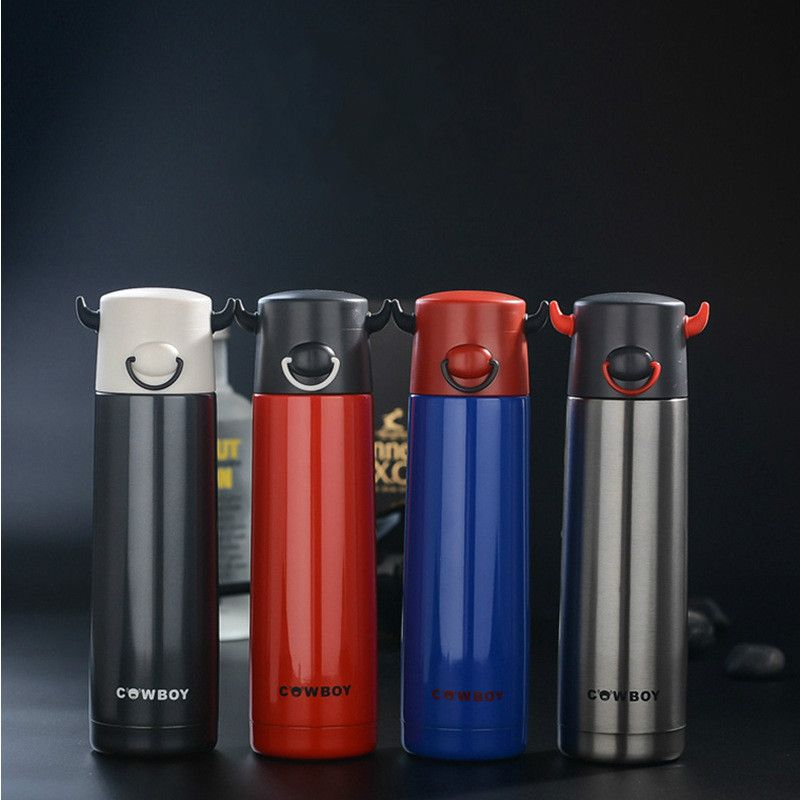 1pc Portable Man Cool 500ml Stainless Steel Insulation Cup Ngau Tau Shape Office Cup Thermo Mug Horns Cup Water Bottle Drinkware Mugs Drinkware Thermos