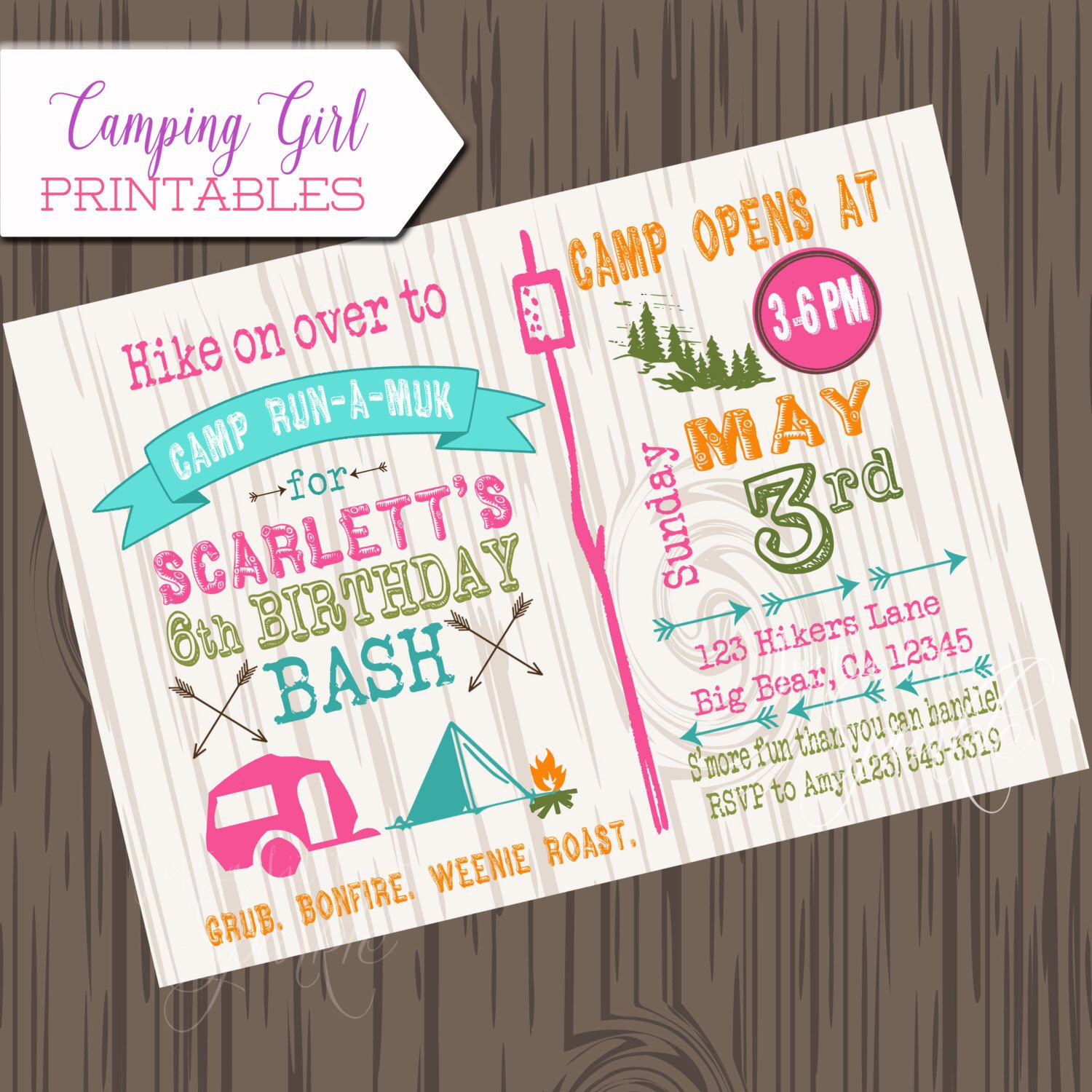 Girl camping birthday invitation diy printable camp birthday girl camping birthday invitation diy printable camp birthday invite camping invitation girl camping invite by justalittlesparkle on etsy filmwisefo